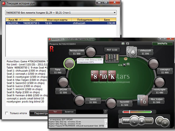 История рук PokerStars